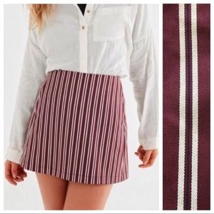Urban Outfitters Maroon Stripe Pocket Mini Skirt